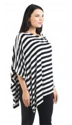 Black/White Stripe Nursing Poncho - Modal Spandex