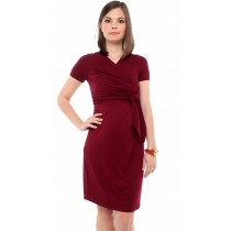 Cosmo Maternity & Nursing Faux Wrap Dress - Wine