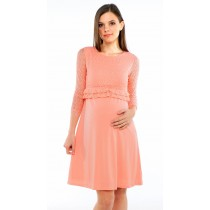 Parisian Lace Maternity & Nursing Dress - Blush