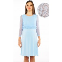 Parisian Lace Maternity & Nursing Dress - Baby Blue