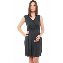 Yasmin Maternity & Nursing Dress - Dark heather grey