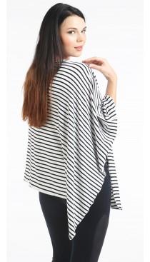 BlackWhite Skinny Stripe Nursing Poncho - Modal Spandex