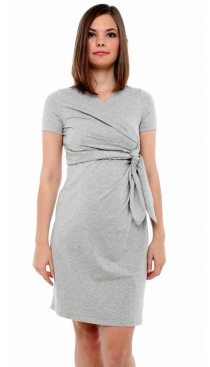 Cosmo Maternity & Nursing Faux Wrap Dress - Dove Grey