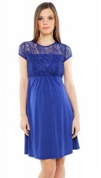 Keira Lace Maternity & Nursing Dress - Royal Blue