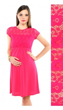 Keira Lace Maternity & Nursing Dress - Fuchsia