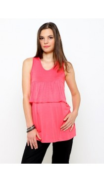 Kerry Ruffle Maternity and Nursing Top - Coral