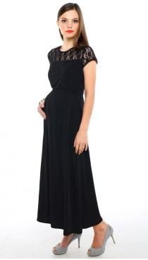 Lisette Maxi Lace Maternity & Nursing Dress - Black