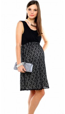 Marguerite lace maternity & nursing dress - Black
