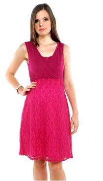 Marguerite lace maternity & nursing dress - Raspberry