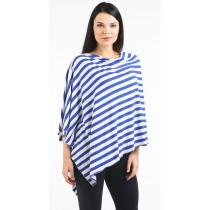 Blue/White Stripe Nursing Poncho - Modal Spandex